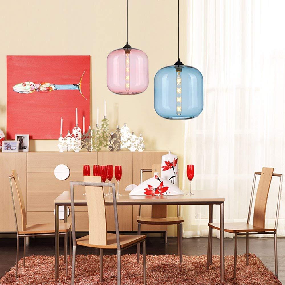 Blau DDX Einfache Art Und Weise Restaurant Kronleuchter Moderne Retro E27 Loft-Deckenleuchte Mit Bunten Acryl-Glas-Anh/änger Lampshade ,Blau