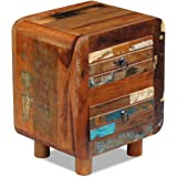"""Festnight Reclaimed Wood Bedside Cabinet Nightstand Living Room End Table with 2 Drawers, 16.9""""x 13""""x 20"""""""