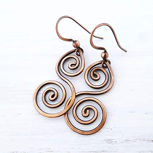 9fe2495138ad81 Amazon.com: Handmade solid Copper Double Spiral wire wrapped Earrings:  Handmade