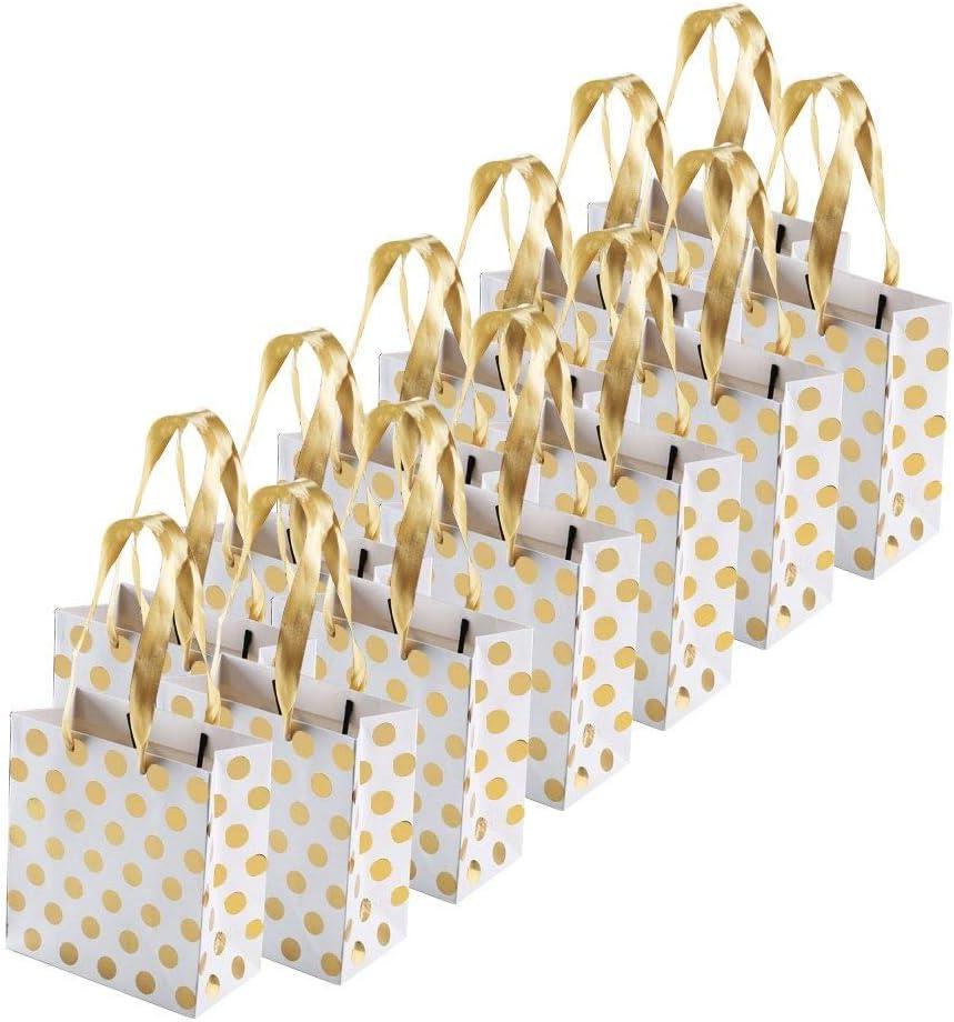 FOGAWA 12pcs Bolsas de Regalo Bolsa de Regalos de Envoltura de Boda Regalo de Aniversario Bolsa de Papel de Cartón para Boda, Cumpleaños Navidad Patrón de Guisante de Oro