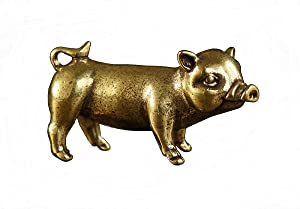 DMtse Chinese Feng Shui Brass Mini Pig Decor Statue Figurines for Animal Sculpture Collectibles Gift