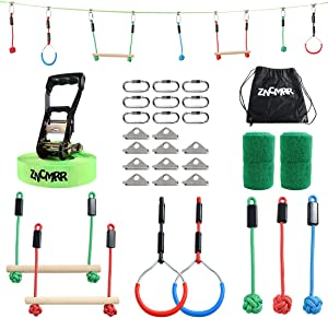 ZNCMRR Outdoor Backyard Ninja Obstacle Course Line with 7 Hanging Obstacles, Adjustable Buckles, Tree Protectors and Carrying Bag Capacity 300lbs, 40FT Ninja Warrior Training Equipment for Kids