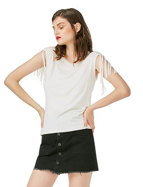 ZAN.STYLE Camiseta Mujer sin Mangas con Flecos Chaleco Verano Básica O Cuello