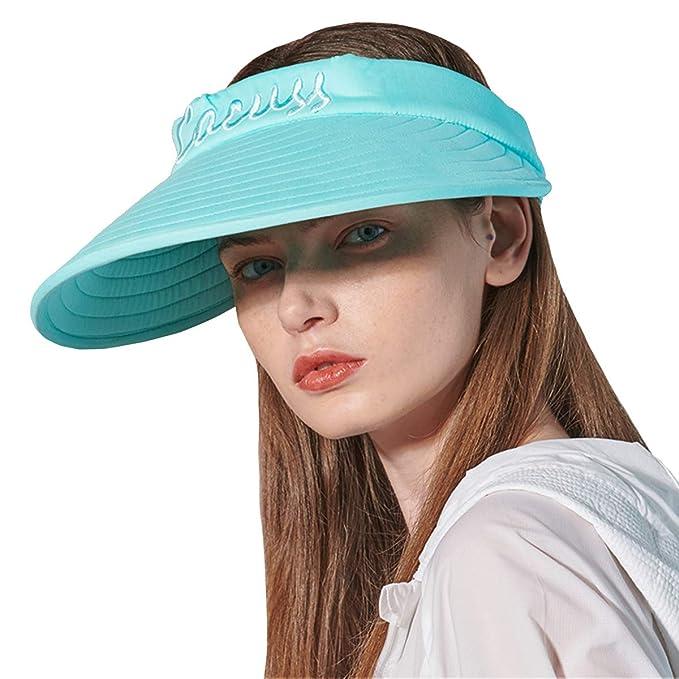 f8de2292 CACUSS Women's Summer Sun Hat Large Brim Visor Adjustable Magic Tape  Packable UPF 50+(