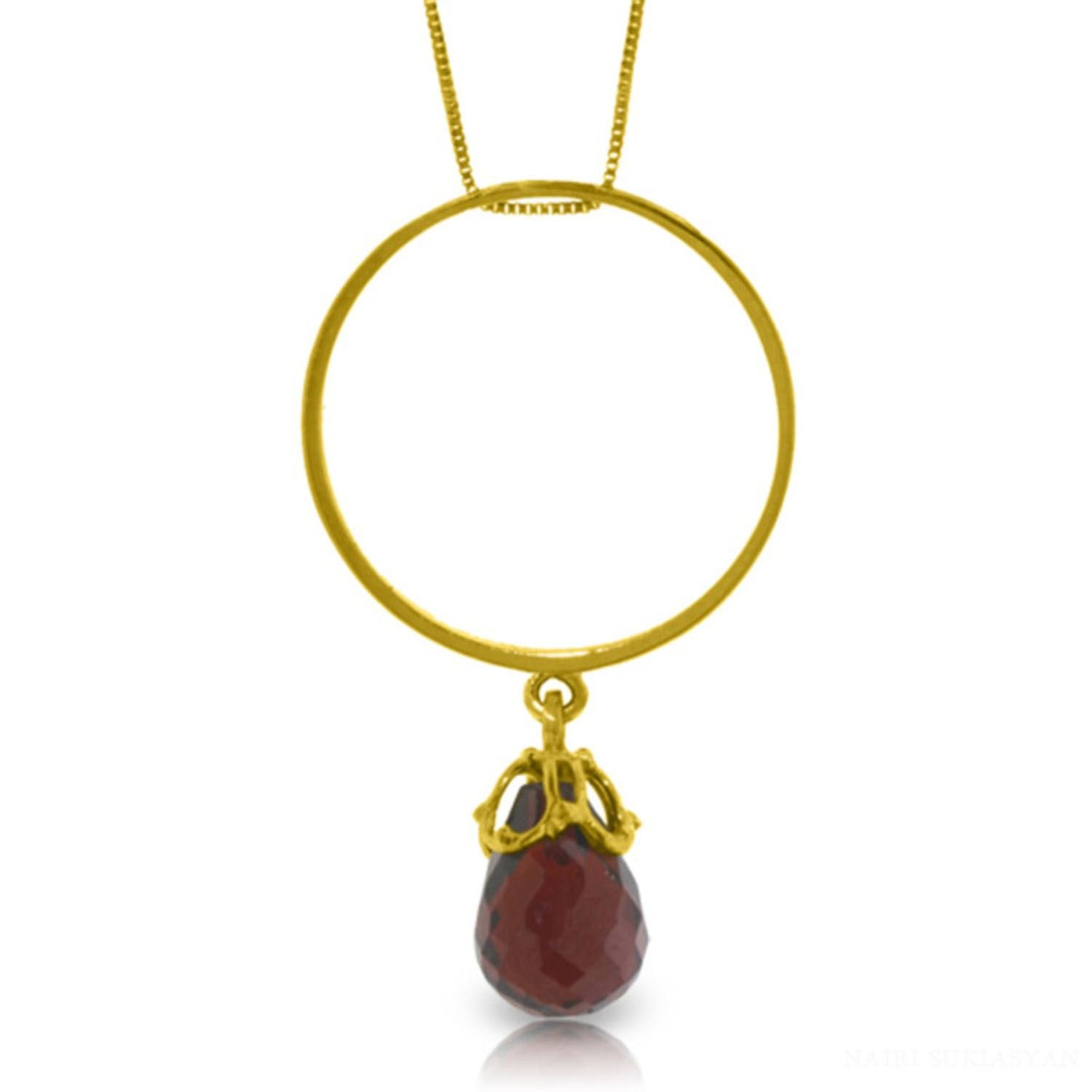ALARRI 3 Carat 14K Solid Gold Charming Spectator Garnet Necklace with 18 Inch Chain Length