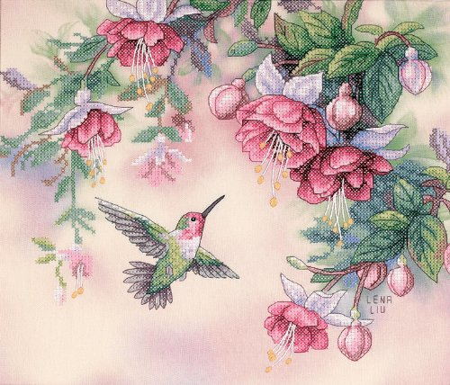 Dimensions Hummingbird and Fuchsias Stamped Cross Stitch Kit, 14'' x - Stamped Cross Stitch Dimensions