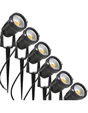 MONEIL 5W LED Landscape Lights 12V 24V Outdoor Spotlight Led Pathway Lights Low Voltage Landscape Lighting Waterproof for Driveway,Yard,Lawn,Flood,Garden,Outdoor Lighting (6 Pack, Warm White)