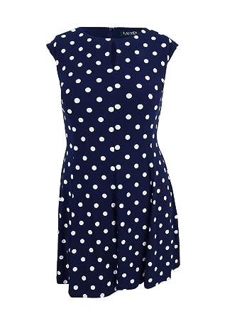 d3e251812b05f Lauren Ralph Lauren Womens Polka Dot Sleeveless Wear to Work Dress Navy 6