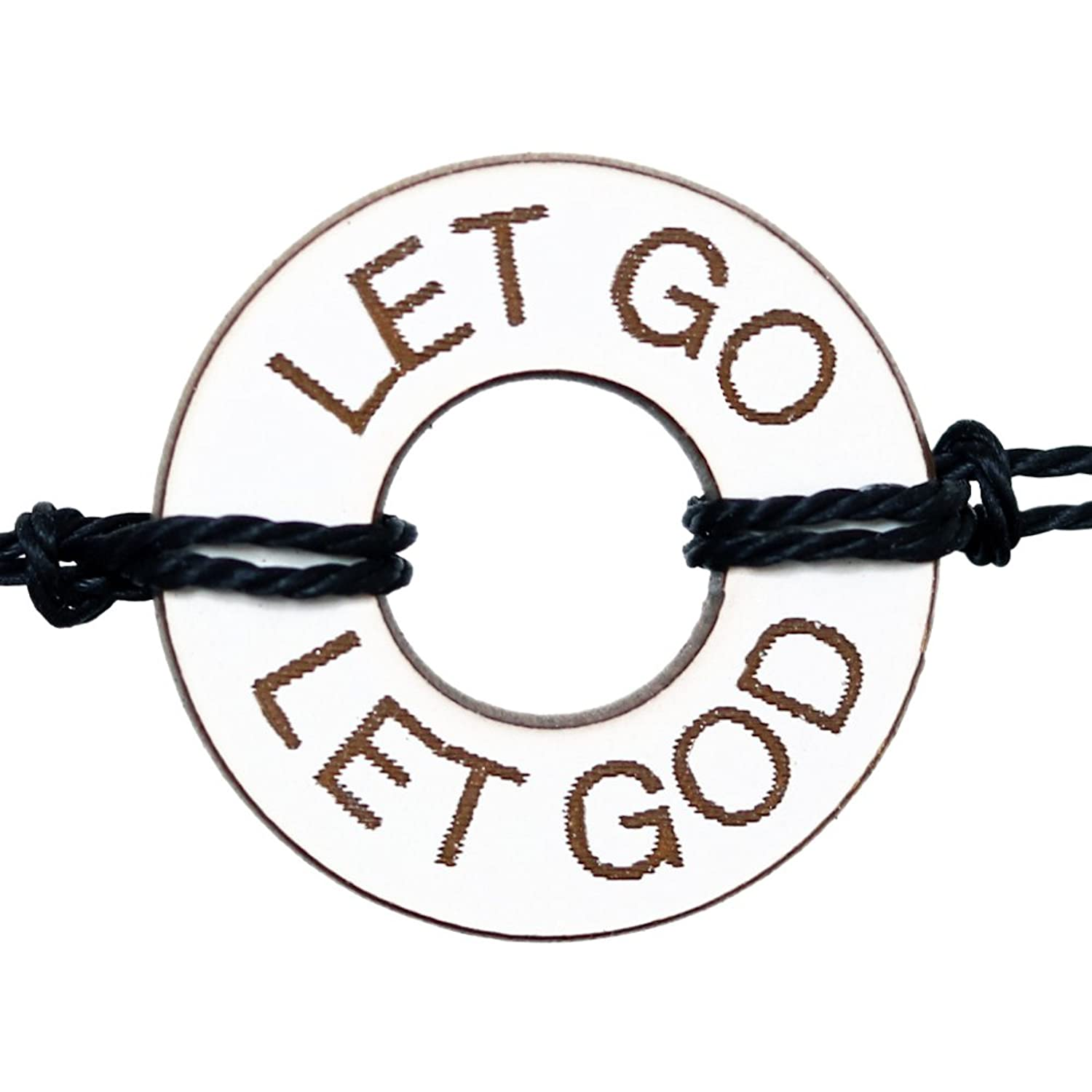 Life Token Handmade Custom Personalized Engraved Message Let Go Let God Novelty Jewelry Gift Bracelet For Both Men and Women (White wth Gold Engraving)