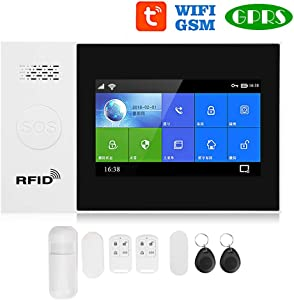 Boquite Valentine's Day Carnival 4.3in Personal Security Window/Door Alarm, Full Touch Color Screen WiFi + GSM + GPRS Wireless Anti-Theft Alarm APP Remote Control Smart Security System