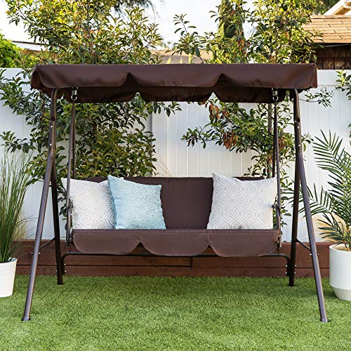 Best Choice Products 2-Person Outdoor Large Convertible Canopy Swing Glider Lounge Chair w/Removable Cushions by Best Choice Products