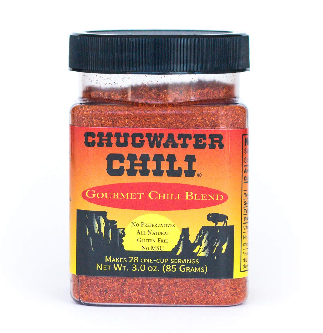 Chugwater Chili | Gourmet Chili Seasoning Mix & Taco Seasoning | 3oz Tub | Wyoming State Championship Chili Recipe | Secret Blend 12 Spices | All Natural, Gluten Free, No MSG & No Preservatives.