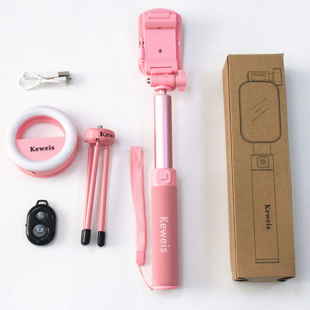Selfie Stick Tripod 1.12M with Ring Light Remote Bluetooth for Live Stream Compatible for iPhone X/SE/6/6s/6 Plus/7/7 Plus/8/8 Plus/,Samsung 8/S8/S8 Plus,Nexus,LG,Moto and More(Pink)