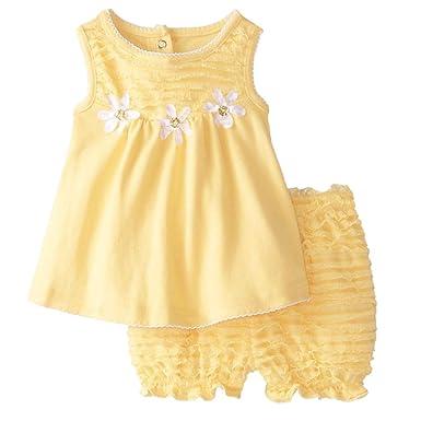 877a3f1fe Amazon.com  Nannette Infant Girls Yellow Daisy Dress Baby Girl 2 PC ...