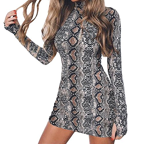 OHTOP Women Bodycon Dress, Long Sleeve High Neck Snake Skin Print Package Hip Bodycon Mini Dress (L) (Dress Snake Print)