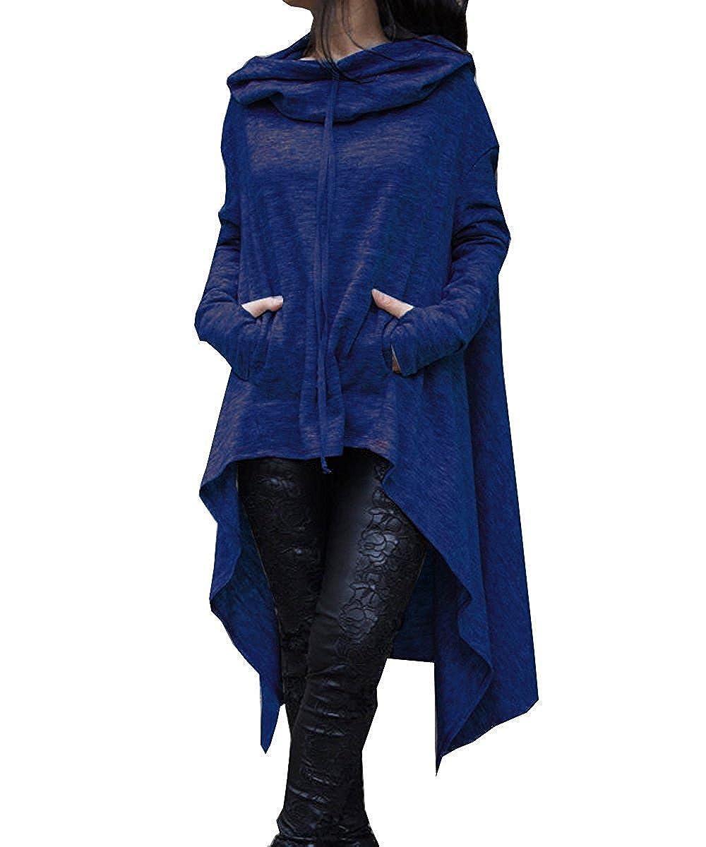 Felpa Lunga Donna Invernale Elegante Sweatshirt Pullover con Cappuccio Maglietta Maniche Lunghe Felpe Tumblr Ragazza Casual Oversize Vestito Asimmetrico Lungo Top