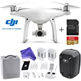 DJI Phantom 4 Quadcopter Drone Aircraft Deluxe Bundle - 64GB SD Card + Hardshell Backpack + Spare Intelligent Flight Battery + DigitalAndMore Microfiber Cloth