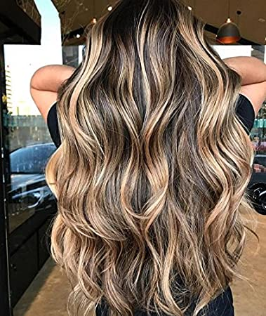Amazon Com Ugeat 20inch Front Lace Wig Balayage Ombre Dark Brown