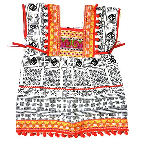 Beautiful Woven Cotton Ethnic Thai Girl Dress Hand Embroidered Details and Colorful Pompoms 2 to 3 Year ()