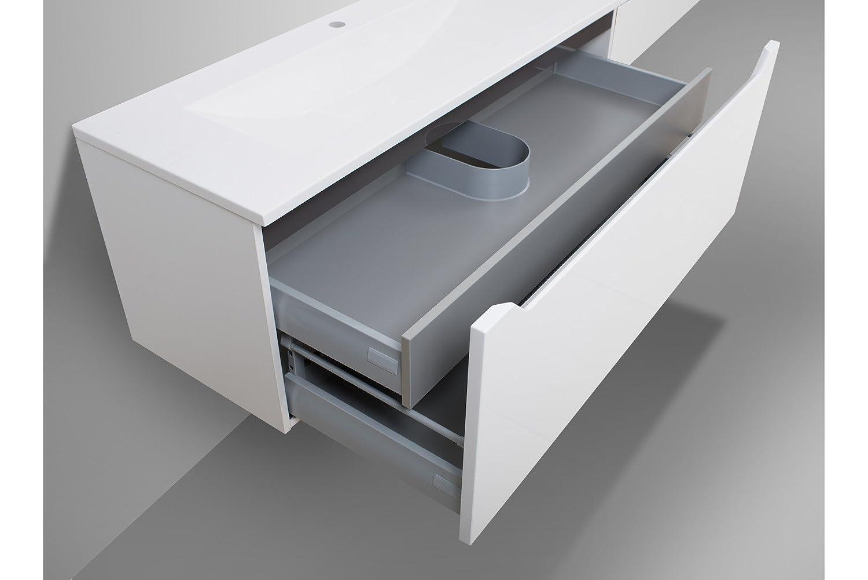 Badmöbel doppelwaschtisch  Badmöbel Set mit 120 cm Doppelwaschtisch Hochglanz Griffleiste ...