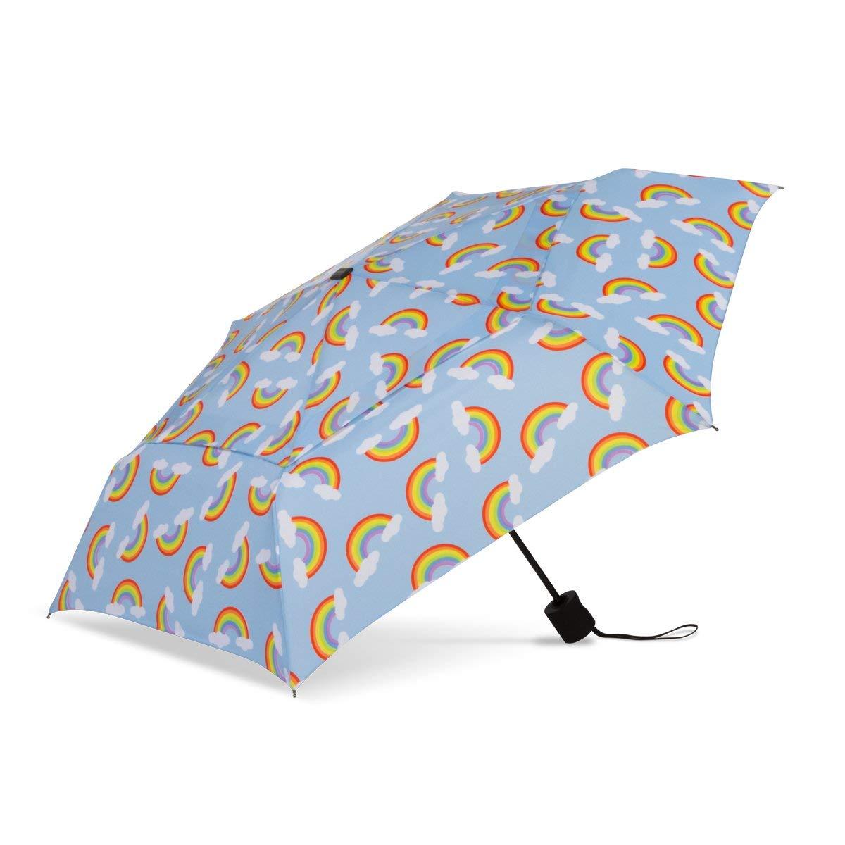 ShedRain WindPro Vented Fashion Auto Open & Close Compact Wind Umbrella: Dream Blue Rainbows