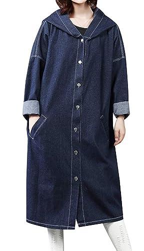 Auspicious beginning Mujeres Niñas Loose Fit abrigo largo novio Chaqueta Denim Jean con capucha