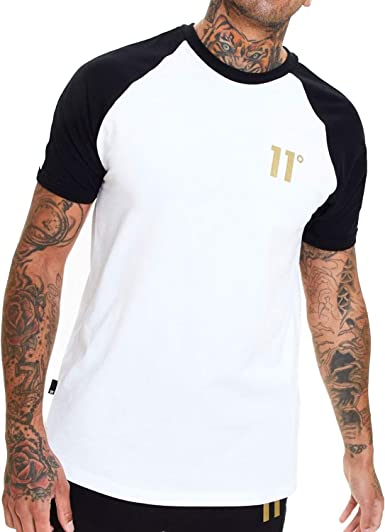 11 Degrees Camiseta Blanca Fit Ajustado Algodon Hombre (XS ...