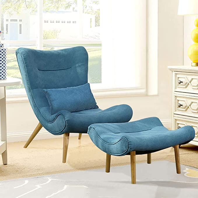 Warmiehomy Modern Fabric Occasional Chair Wing Back Fireside Accent Chair With Footstool For Living Room Bedroom Office Turquoise Blue Amazon Co Uk Kitchen Home