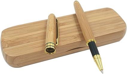 Pluma estilográfica de estilo vintage, hecha a mano con bambú natural, con estuche de bambú a juego: Amazon.es: Oficina y papelería