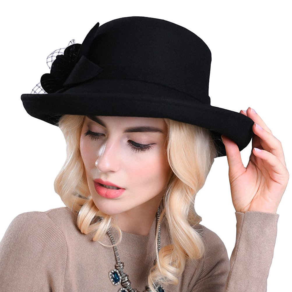 Tea Party Hats – Victorian to 1950s Maitose Womens Wide Brim Wool Felt Bowler Hat $38.20 AT vintagedancer.com