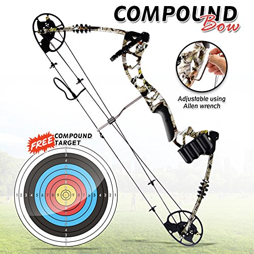 SereneLife Compound Bow, Adjustable Draw Weight 30-70 lbs with Max Speed 320 fps - Right Handed (SLCOMB10) by SereneLife (Image #2)