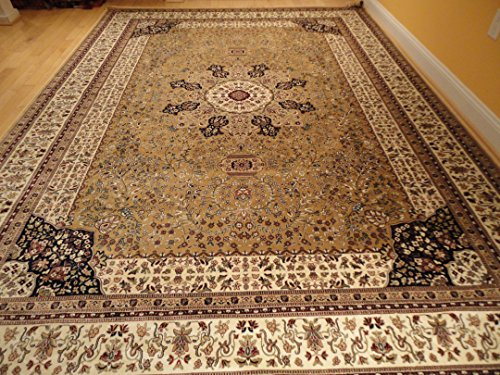 Luxury Silk Large Rugs Beige Area Rugs Traditional Persian Kashan 8x12 Living Room Rugs 8x11 Dining Room Gold Carpet (Large 8'x12')