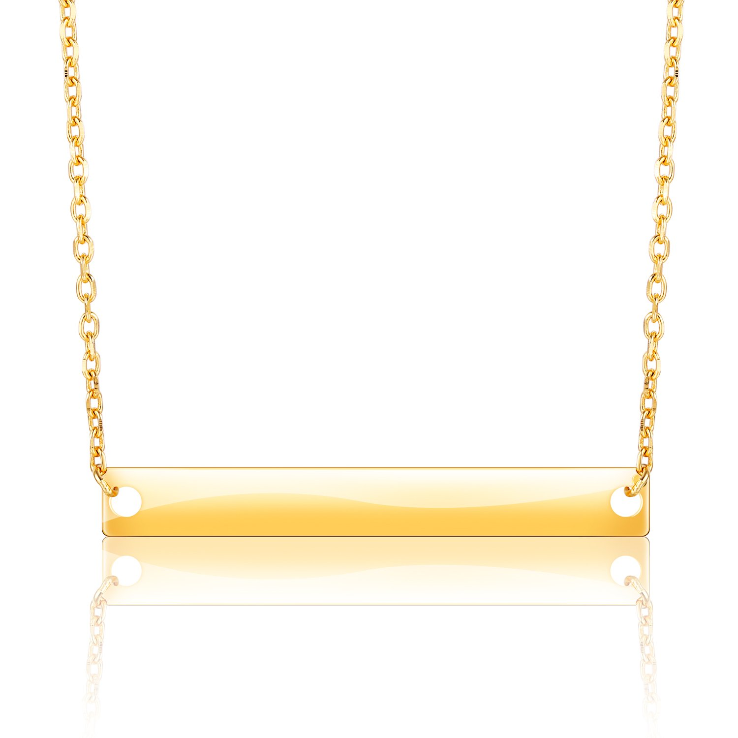 LIEBLICH S925 Sterling Silver Bar Charm Pendant Necklace Christmas Gift for Women (Gold)