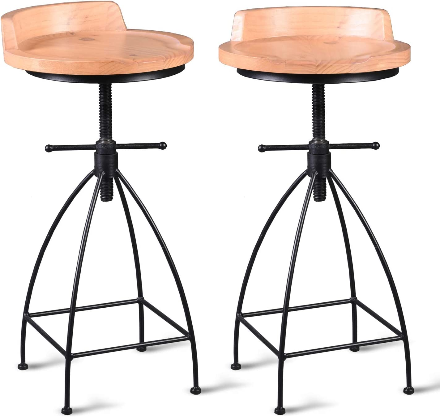 Diwhy Industrial Vintage Rustic Bar Stool,Wooden Top Stool Kitchen Counter Height Adjustable ,Cast Iron Stool with Metal legs,Swivel Stool,24 Inch,Low Backrest,Fully Welded Set of 2 (Light Wood Color)