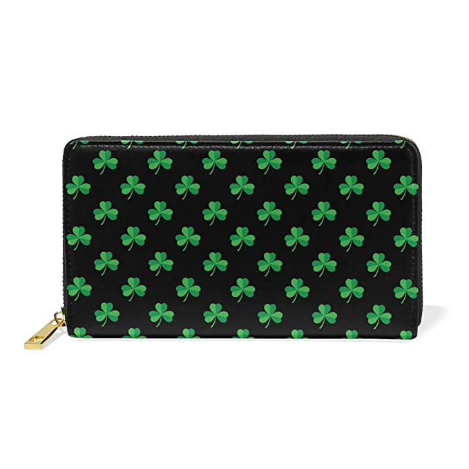 cc99ea4f173d Retro Green Luck Four Leaf Clover Simple Leather Slim Wallet To ...