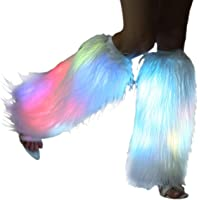 Light Up Faux Fur Led Leg Warmer Glow Rave white Fluffies Rainbow Flashing Sparkly Dance Hosiery Festival