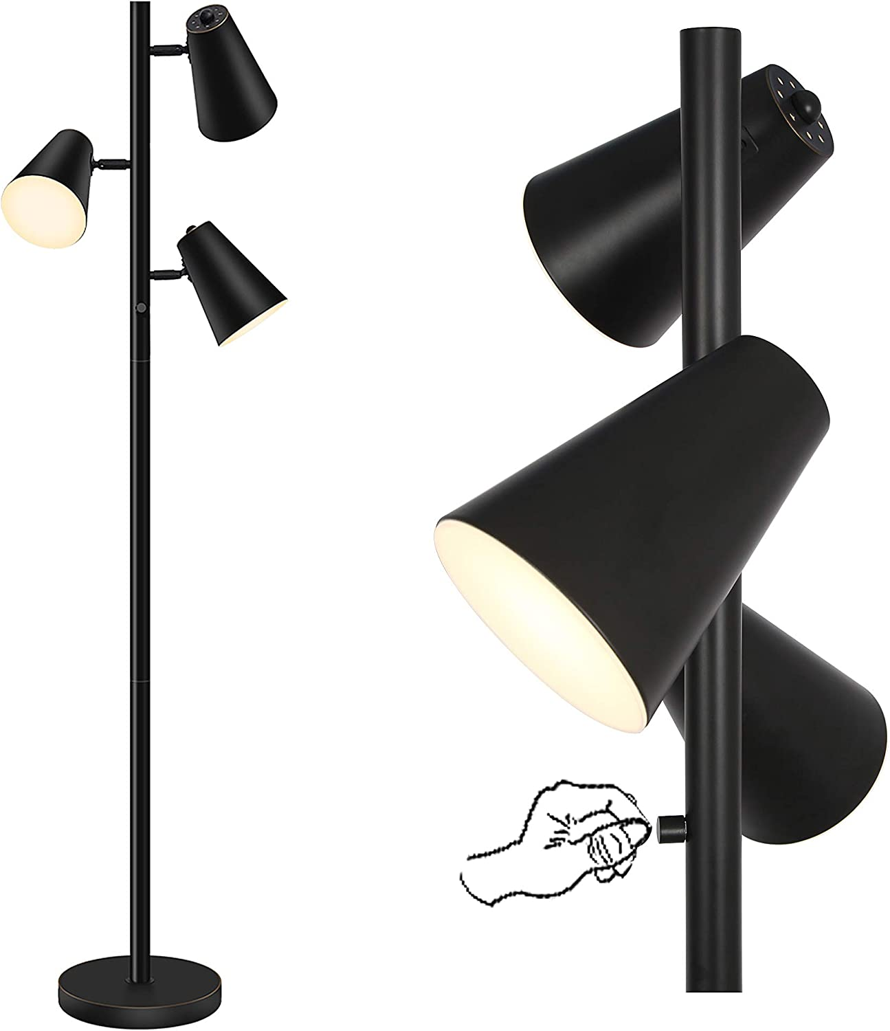 Tree Led Floor Lamp for Mid Century, Modern, Contemporary and Industrial Decor, Bright Reading,3 Way Standing Floor Lamp with 3 Adjustable Metal Shades for Living Room & Bedroom, Black