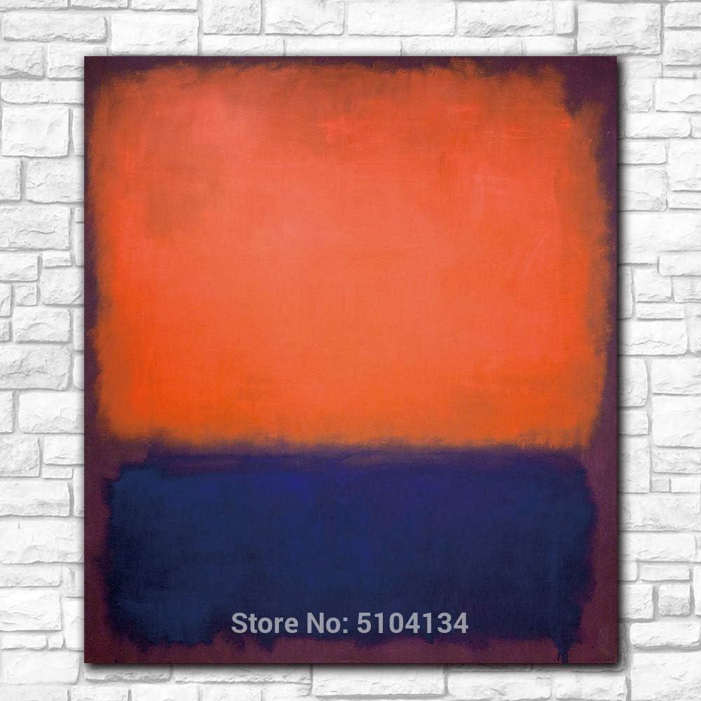 zzlzjj Famosos Cuadros de Pared para Sala de Estar Mark Rothko No. impresión Lienzo Arte decoración del hogar Pintura al óleo Moderna 50x50 cm