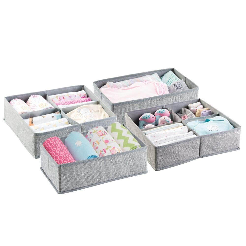 mDesign Soft Fabric Dresser Drawer and Closet Storage Organizer Set for Child/Kids Room, Nursery, Playroom - 2 Pieces, 5 Compartments - Textured Print - Gray MetroDecor 1441MDB