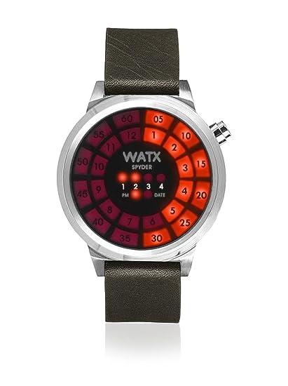 Watx RWA0950 - Reloj unisex con correa de cuero, color negro/gris