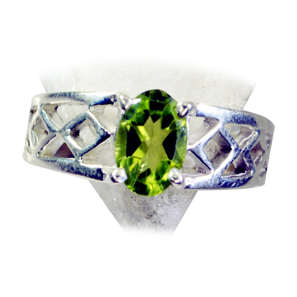 Natural Peridot Ring For Women Silver August Oval Shape Birthstone Handmade Size 4,5,6,7,8,9,10,11,12