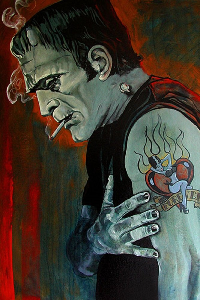 Broken Hearted by Mike Bell Frankenstein Monster Love Tattoo Canvas Art Print