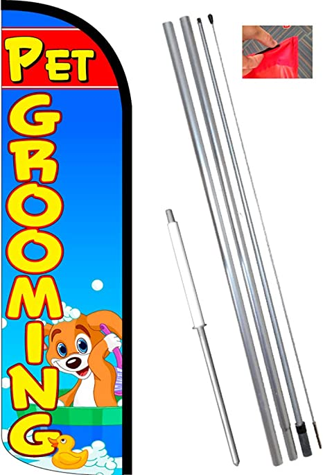 Pet Grooming Windless Feather Flag Bundle 11 5 Tall Flag 15 Tall Flagpole Ground Mount Stake 841098153359 Office Products Amazon Com