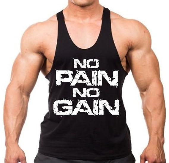 c121e292c7e43 Amazon.com  Interstate Apparel Inc Men s No Pain No Gain Workout Y Back  Stringer Tank Top XS-2XL  Clothing