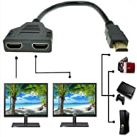 HDMI Splitter Adapter Cable HDMI Male to Dual HDMI Female 1 to 2 Way, Support Two TVs at The Same Time, Signal One in…