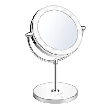 KDKD Lighted Makeup Mirror 1X 7X Magnification Double Sided Round Shape  with Base Touch Button, Cordless and Rechargeable