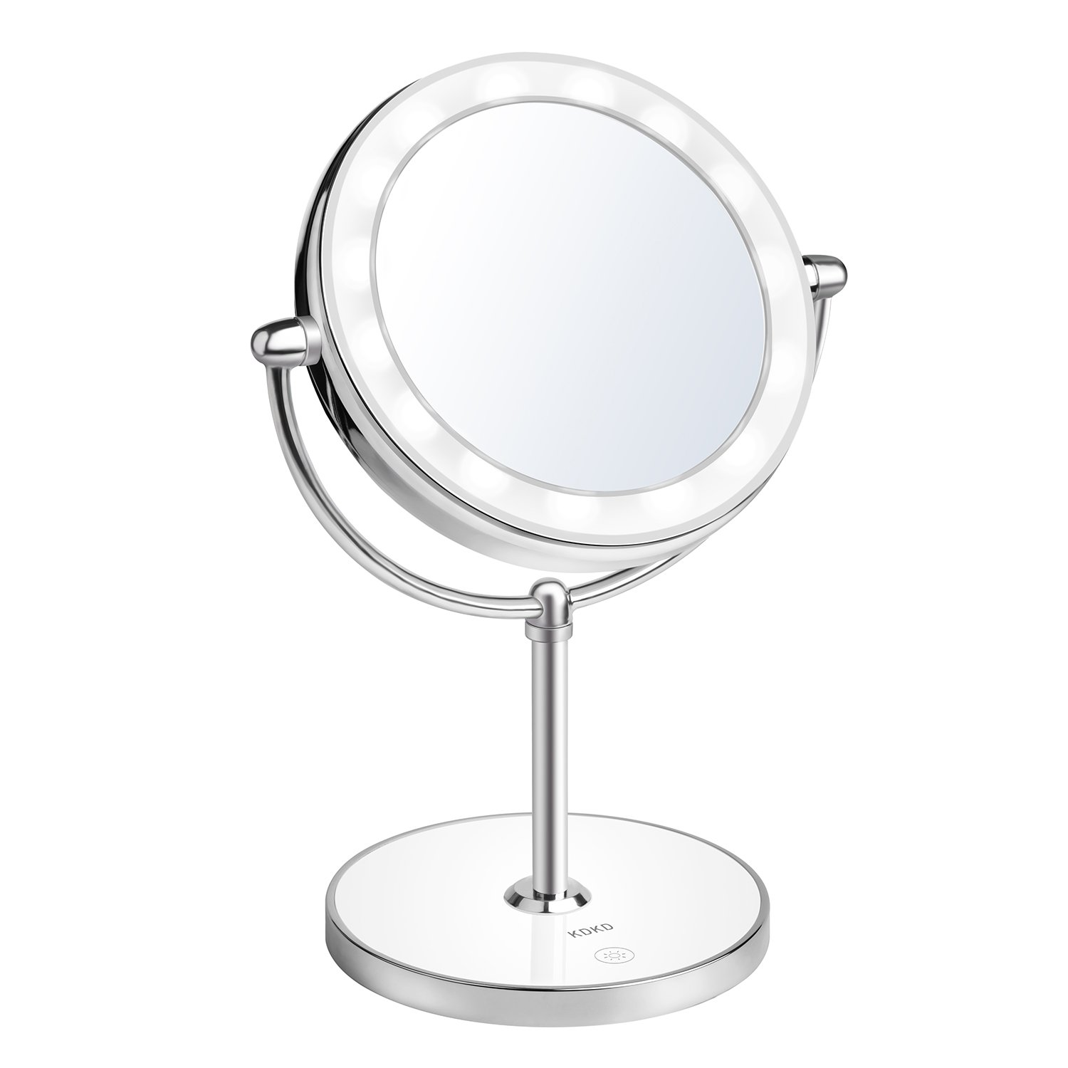 KDKD Lighted Makeup Mirror 1X 7X Magnification Double Sided Round Shape with Base Touch Button, Cordless and Rechargeable by KDKD (Image #1)