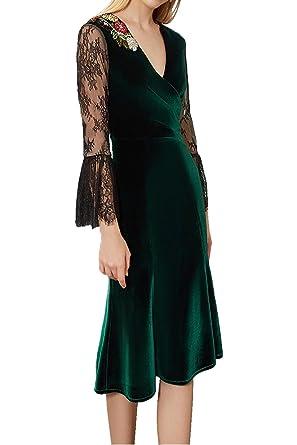 Ivydressing Damen Elegant Samt Spitze V-Ausschnitt Abendkleider ...