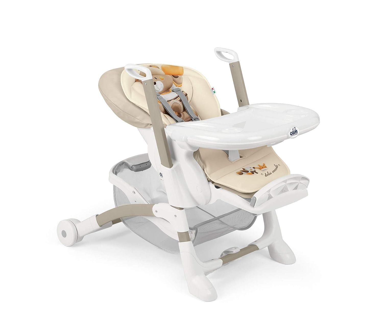 Inklusive ger/äumigem Tischchen Flexibel verstellbar und leicht zu reinigen Verspielte Designs Braun CAM Hochstuhl ISTANTE