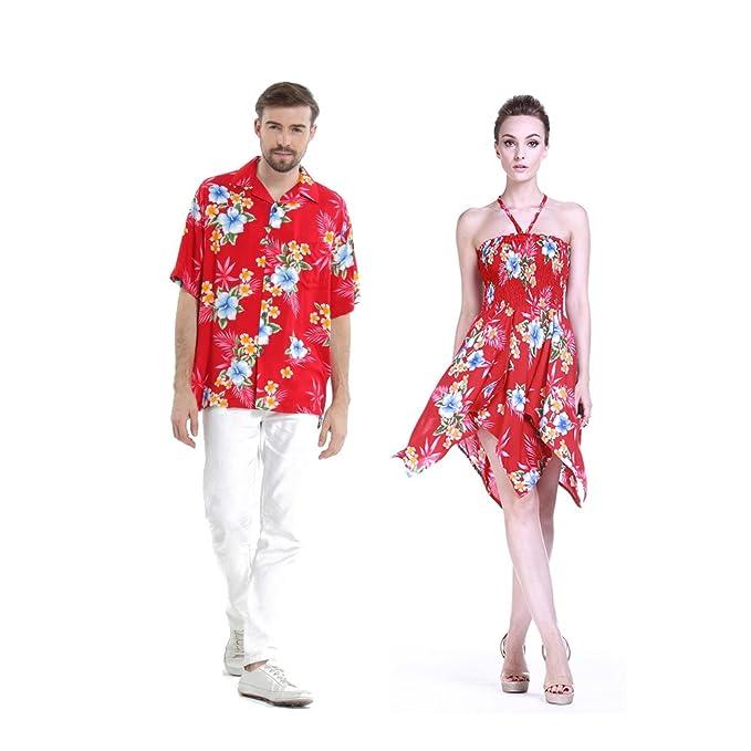 Pareja coincidente hawaiana Luau Aloha camisa gitana vestido en Hibisco rojo: Amazon.es: Ropa y accesorios
